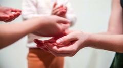 Big hands handshake group of children little baby boy video hd 1920x1080 Stock Footage