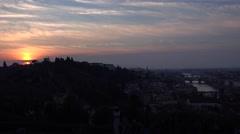 ULTRA HD 4K Beautiful sunset Florence cityscape Old Bridge famous landmark night Stock Footage