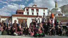 Lamayuru Festival 2013 Spectators with monastary,Lamayuru,Ladakh,India Stock Footage