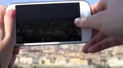 ULTRA HD 4K Tourist woman hand take photo mobile phone smartphone Florence town  Stock Footage