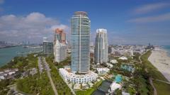 Miami aerial beach timelapse backfly 4k Arkistovideo