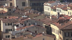 ULTRA HD 4K Aerial view Tuscany rooftop Florence architecture sunny day house  Stock Footage