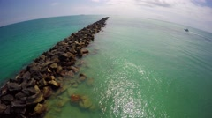 Miami Beach South Pointe Pier and Jetty 4k 2 Stock Footage