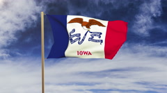 Iowa flag waving in the wind. Green screen, alpha matte. Loopable animation Stock Footage
