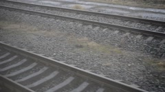 Railway. View out of window of moving train on two railways Stock Footage