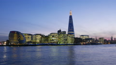 4k - Time lapse shot of Skyline of London with City Hall and The Shard Stock Footage