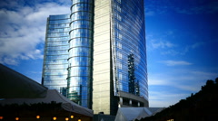 Tilt up Italy Lombardy Milan Milano Unicredit Tower commercial building Stock Footage