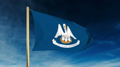 Louisiana flag slider style. Waving in the win with cloud background animation Stock Footage