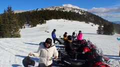 Amazing Mountain View Snowmobile Tour Stock Footage
