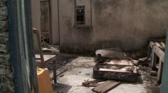 Abandoned Maldives island - empty house after sea level rise evacuation - stock footage
