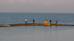 Fishermen with fishing rod Stock Footage