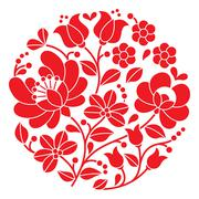 Kalocsai red embroidery - Hungarian round floral folk pattern Stock Illustration