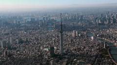 Tokyo Sky Tree Aerial view from Helicopter Stock Footage