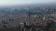 Stock Video Footage of Tokyo Sky Tree Aerial view from Helicopter