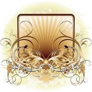 ornamental shield background - stock illustration
