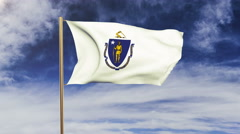 Massachusetts flag waving in the wind. Green screen, alpha matte. Loopable Stock Footage