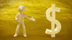 3d white man with dollar sign on golden background. Stock Footage