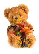 Pretty toy teddy bear with bouquet of autumn leaves - stock photo