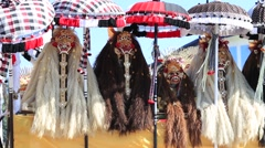 Balinese Barong mask during celebrate Balinese New Year . Bali, Indonesia Stock Footage