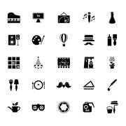 Stock Illustration of Art activity icons on white background