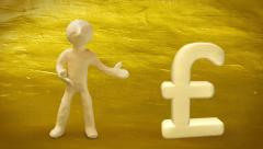 3d white man with pound sign on golden background. Stock Footage
