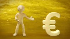 3d white man with euro sign on golden background. Stock Footage