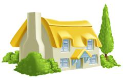Pretty Country Cottage - stock illustration
