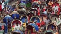 Rickshaws traffic jam at the central part of the city in Dhaka, Bangladesh. Stock Footage