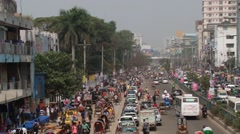 Busy road traffic at the central part of the city in Dhaka, Bangladesh. - stock footage