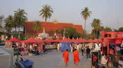 Night Market at the Mekong River,Vientiane,Laos - stock footage