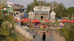 Chinese Temple and playground at Mekong river,Vientiane,Laos Stock Footage