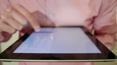 Close-Up Men Searches Messages On The IPad - stock footage
