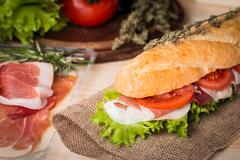 sandwich from fresh baguette - stock photo