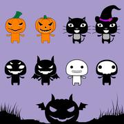 Character Halloween on Laver Background Stock Illustration