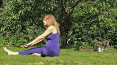 Stock Video Footage of Pregnant woman yoga exercise during pregnancy outdoor at park
