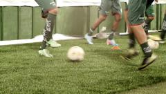 Soccer team warm up close ups of legs Stock Footage