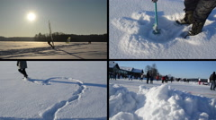 Ice surfer. Heart shape on snow. Icehole drill. People skate Stock Footage