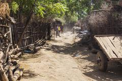 Street in traditional village of Dassanech tribe. Omorato, Ethiopia. Kuvituskuvat