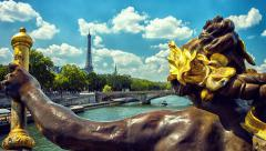 PARIS, FRANCE. View of Eiffel Tower from Alexander III Bridge Stock Footage