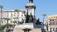 Camillo Benso di Cavour monument. Rome, Italy  Stock Footage