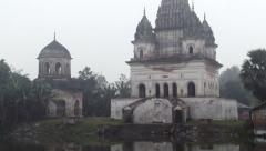 Exterior of the Shiva temple on a foggy morning in Puthia, Bangladesh. Stock Footage
