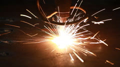 CNC LPG cutting with sparks Stock Footage