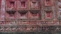 Exterior detail of the Pancharatna Govinda Hindu temple in Puthia, Bangladesh. Stock Footage