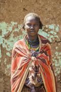 Portrait of Dassanech girl. Omorato, Ethiopia. - stock photo