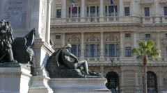 Camillo Benso di Cavour monument and Palace of Justice. Rome, Italy Stock Footage