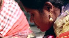 Lady weaves bamboo mat in Tangail, Bangladesh. Stock Footage