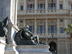 Camillo Benso di Cavour monument and Palace of Justice. Rome, Italy. 640x480 Stock Footage
