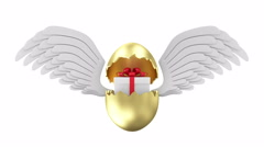 4K Animation of Broken Golden Easter Egg with Gift Box and Angel White Wings Stock Footage