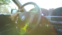 Interior BMW car while driving Stock Footage