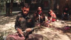 People cut bamboo to produce bamboo mats in Tangail, Bangladesh. Stock Footage